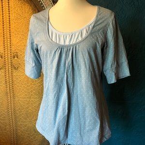 Venezia blue & white Swiss polkadot knit top 14/16